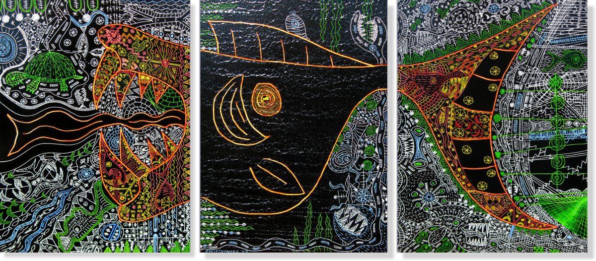 Репродукція модульної картини триптих «Морське життя» 60 х 135 см