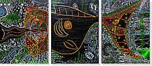 Репродукция модульной картины триптих «Морская жизнь» 60 х 135 см