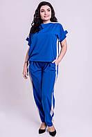 ✔️ Модный летний штапельный костюм с лампасами Нури большого размера 54-62 электрик, фото 1