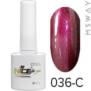 NICE Гель-лак Cool белый флакон 8.5ml Тон 036-C вишня гладкий перламутр, фото 2