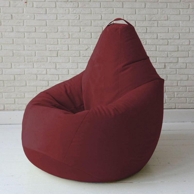Кресло-груша KatyPuf бордовое Велюр