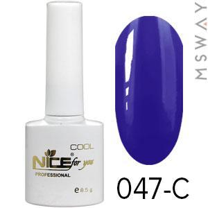 NICE Гель-лак Cool белый флакон 8.5ml Тон 047-C темная сине фиолетовая эмаль