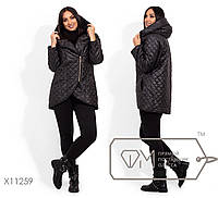 Удлиненная куртка с короткой застежкой-молнией, капюшоном в большом размере 42,44,46,48,50,52,54,56-58,60-62,