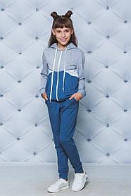 Костюм спортивный для девочки джинс с серым