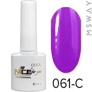 NICE Гель-лак Cool белый флакон 8.5ml Тон 061-C темно фиолетово фиалковая эмаль