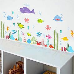 """Наклейки на стену, в ванную """"подводный мир"""" 60см*100см (лист30*90см) рыбки наклейки для детей"""
