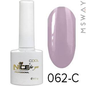 NICE Гель-лак Cool белый флакон 8.5ml Тон 062-C дымная серо-сиренево натуральная эмаль, фото 2