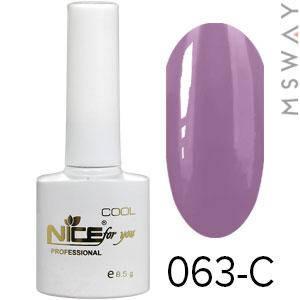 NICE Гель-лак Cool белый флакон 8.5ml Тон 063-C дымно сливовая эмаль, фото 2
