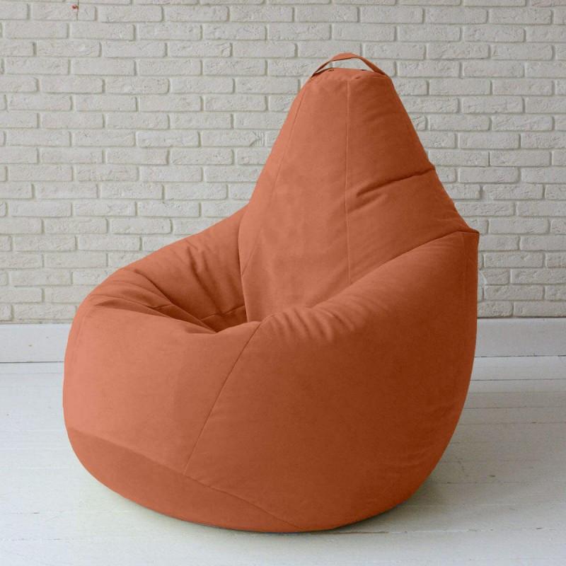 Кресло-груша KatyPuf оранжевое Велюр