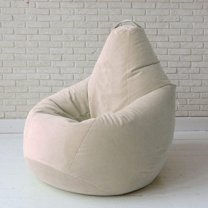 Кресло-груша KatyPuf светло-бежевое Велюр