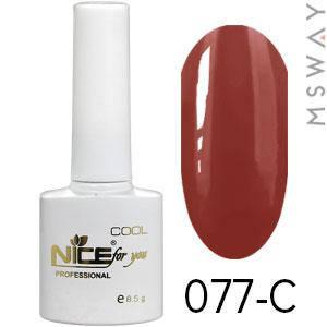 NICE Гель-лак Cool белый флакон 8.5ml Тон 077-C красно древесная эмаль, фото 2