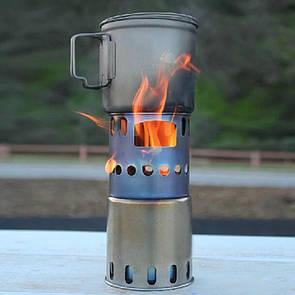 Туристическая титановая щепочница TOAKS STV-12 Титанова щепочниця Titanium. Титановая печь.