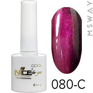 NICE Гель-лак Cool белый флакон 8.5ml Тон 080-C вишнево розовая блестящая, фото 2