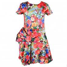 Оригинальное недорогое летнее платье для девочки с экстравагантным бантом цветочной расцветки