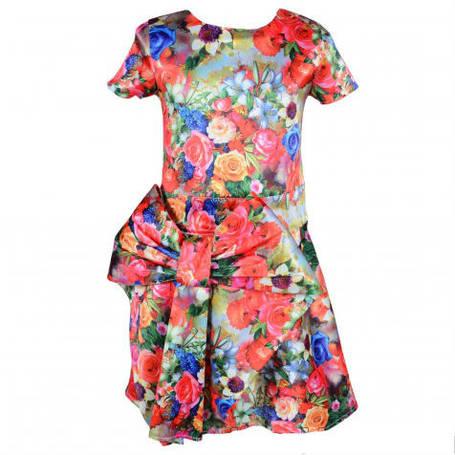 Оригинальное недорогое летнее платье для девочки с экстравагантным бантом цветочной расцветки, фото 2