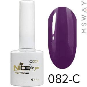 NICE Гель-лак Cool белый флакон 8.5ml Тон 082-C темно сливово фиолетовая эмаль, фото 2