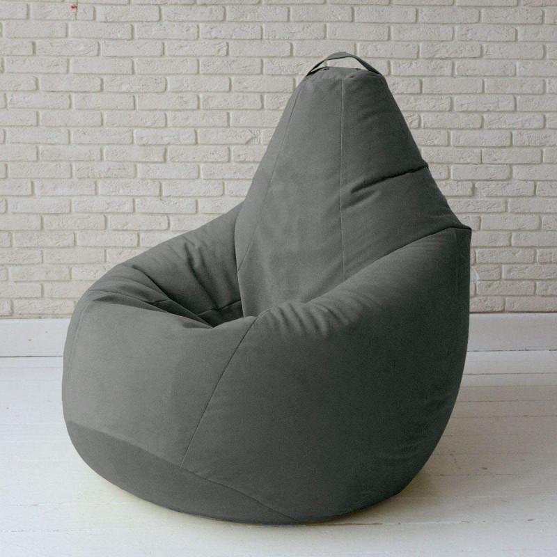 Кресло-груша KatyPuf серое Велюр