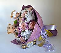 Букет на свадьбу с игрушками и конфетами