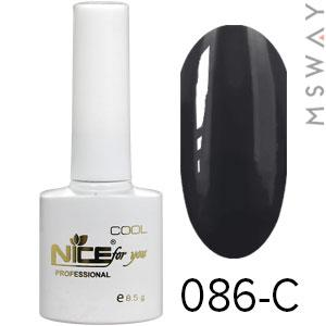 NICE Гель-лак Cool белый флакон 8.5ml Тон 086-C черная эмаль