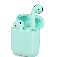 Беспроводные сенсорные Bluetooth наушники Earbuds i12-TWS. Цвет ментол/бирюза