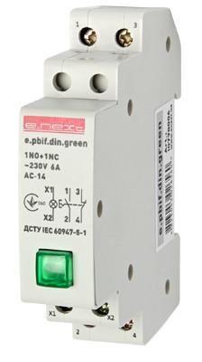 Кнопка управления с индикатором и фиксатором e.pbif.din.green, зеленый Енекст [i0790006]