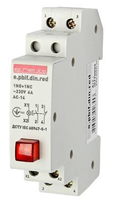 Кнопка управления с индикатором и фиксатором e.pbif.din.red, красный Енекст [i0790005]