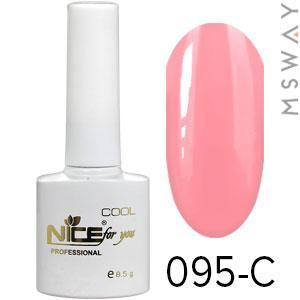 NICE Гель-лак Cool белый флакон 8.5ml Тон 095-C нежно ярко светло розовая эмаль