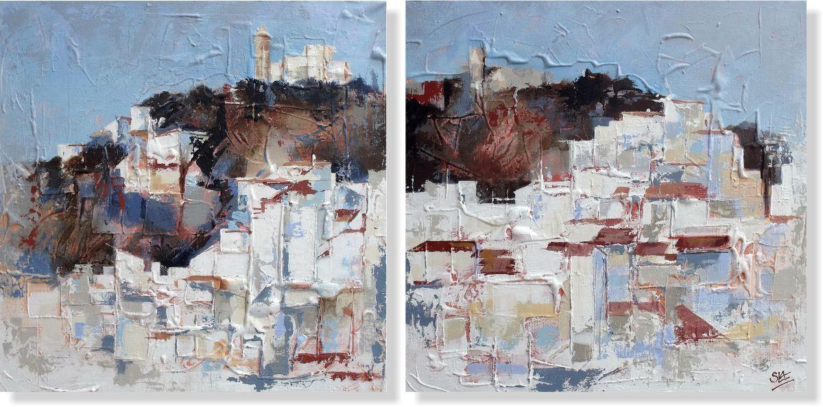 Репродукция модульной картины диптих «Вид с моря»