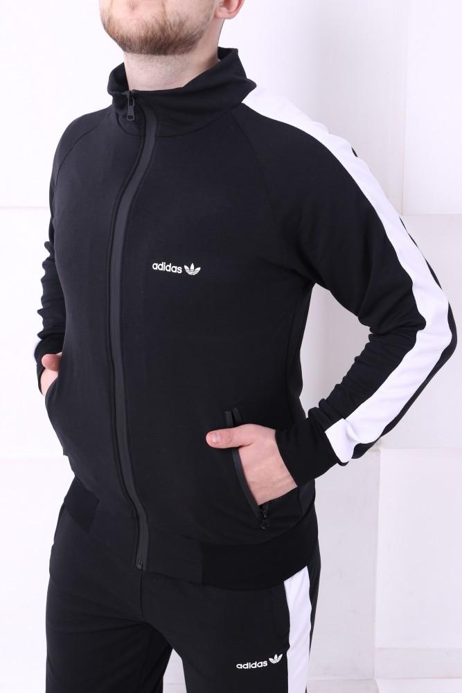 Спортивный костюм Adidas черный с белыми лампасами