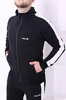 Спортивный костюм Adidas черный с белыми лампасами, фото 1