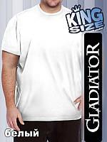 Мужская однотонная футболка большого размера, белая
