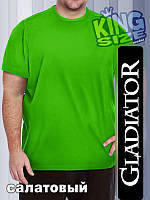 Мужская однотонная футболка большого размера, салатовая