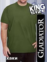 Мужская однотонная футболка большого размера, хаки