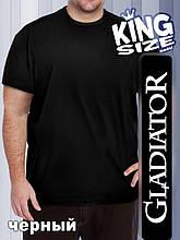 Мужская однотонная футболка большого размера, черная