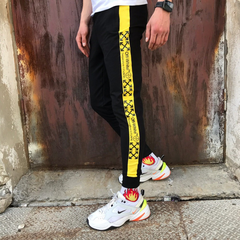 Спортивные штаны в стиле Off White Line Temper черные c желтым