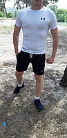Летний спортивный комплект(шорты и футболка) UA Black/White