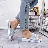 ТІЛЬКИ 36 р!!! Шльопанці жіночі срібло натуральна шкіра, фото 4