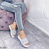 ТІЛЬКИ 36 р!!! Шльопанці жіночі срібло натуральна шкіра, фото 6