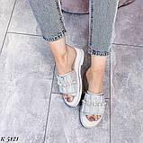 ТІЛЬКИ 36 р!!! Шльопанці жіночі срібло натуральна шкіра, фото 8