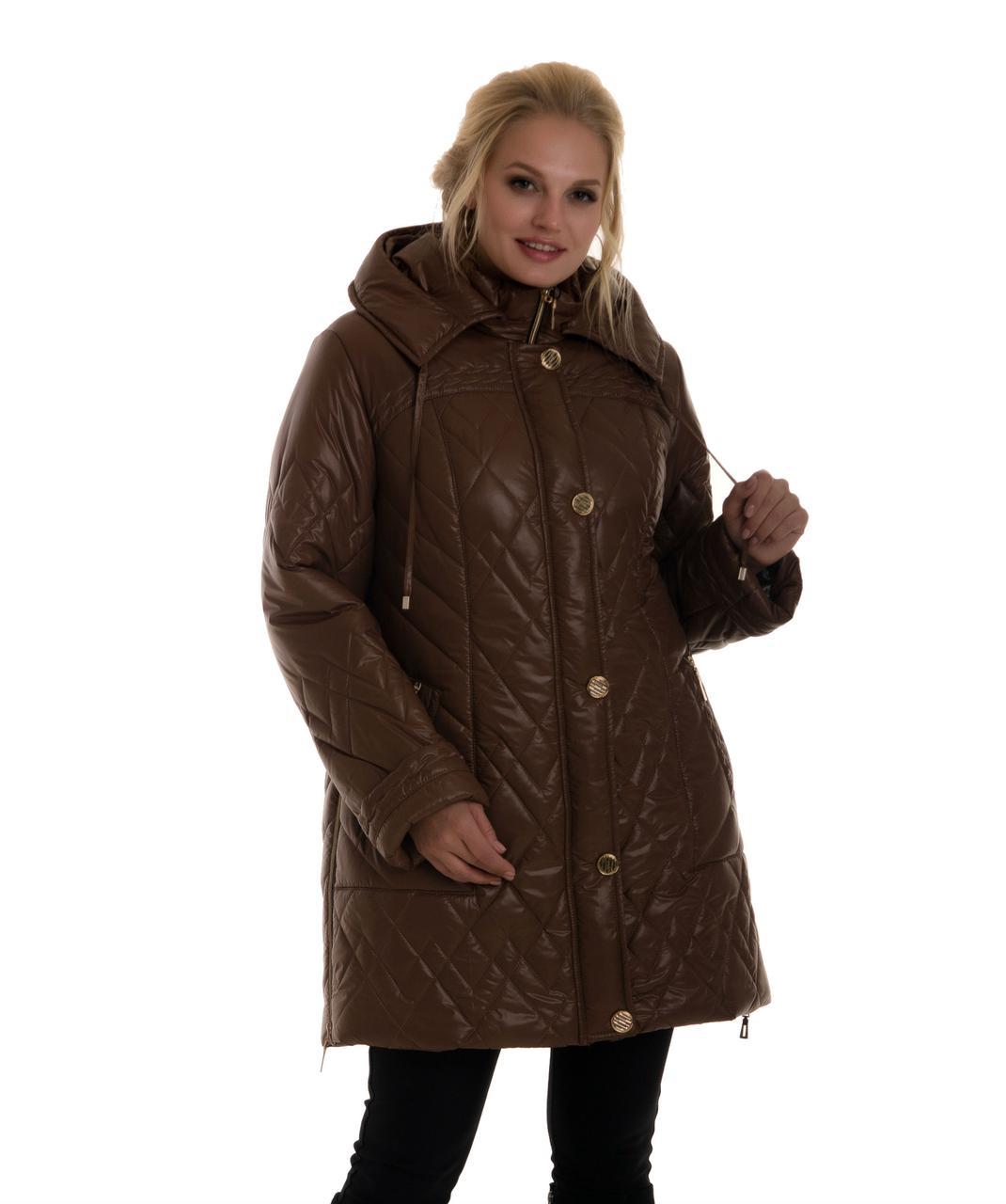Стёганая, модная женская куртка с капюшоном.