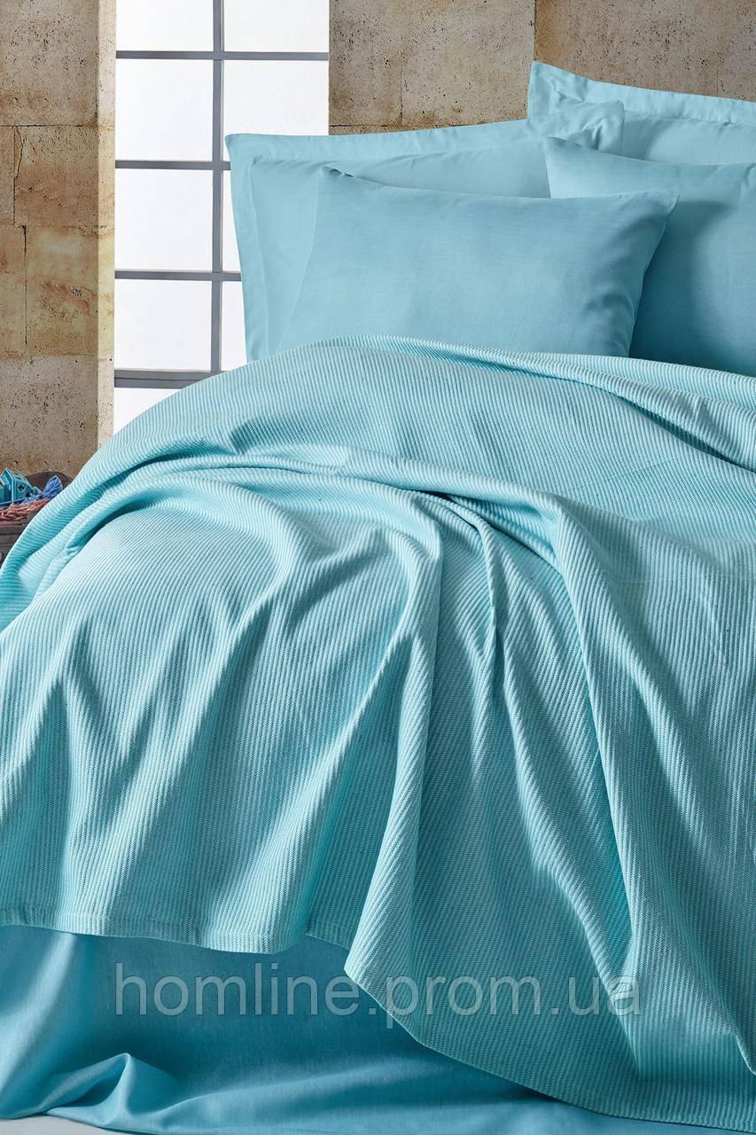 Покрывало 200*235 пике Eponj Home Deportes BebeMavisi голубой вафельное
