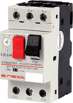 Автоматический выключатель защиты двигателя e.mp.pro.0.4, 0,25-0,4А ENEXT [p004015]