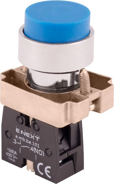 Кнопка без подсветки выпуклая e.mb.bl61 синяя, без фиксации, 1no Енекст [p0810114]