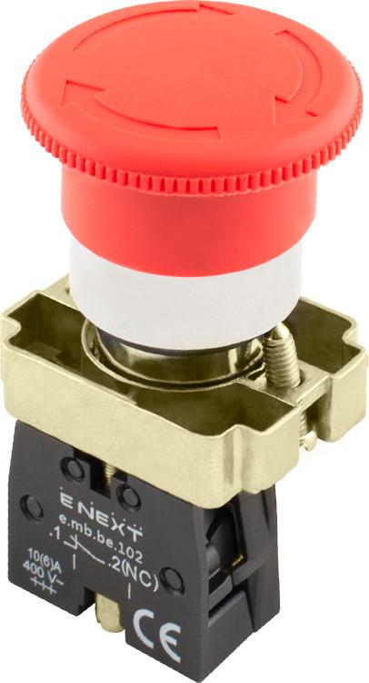 Кнопка «грибок» с фиксацией поворотная e.mb.bs542 красный, 1nc Енекст [p0810123]