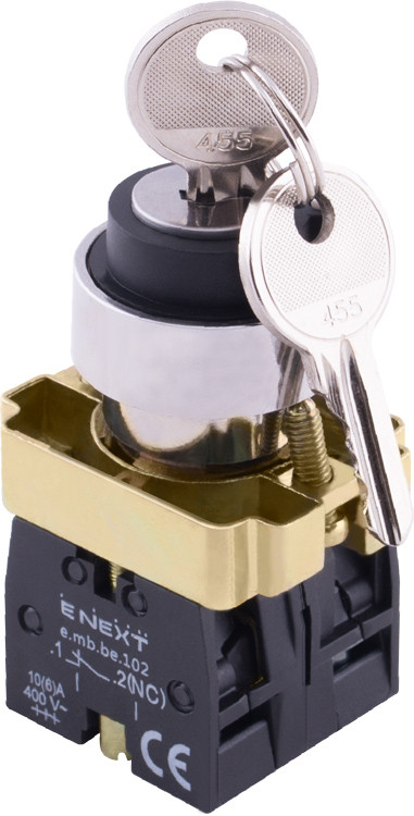 """Переключатель с ключем e.mb.bg45.lrr на 2 фиксированных положения """"1-0"""", 1no+1nc (ключ вынимается влево"""