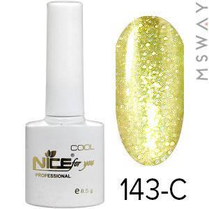 NICE Гель-лак Cool белый флакон 8.5ml Тон 143-C золото блестки, фото 2
