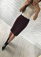Женский костюм: топ без рукавов с набивного гипюра молоко + юбка миди кукуруза бордо