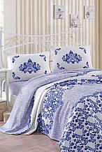 Покрывало 160*235 летнее пике Eponj Home Hunkar mavi голубой вафельное