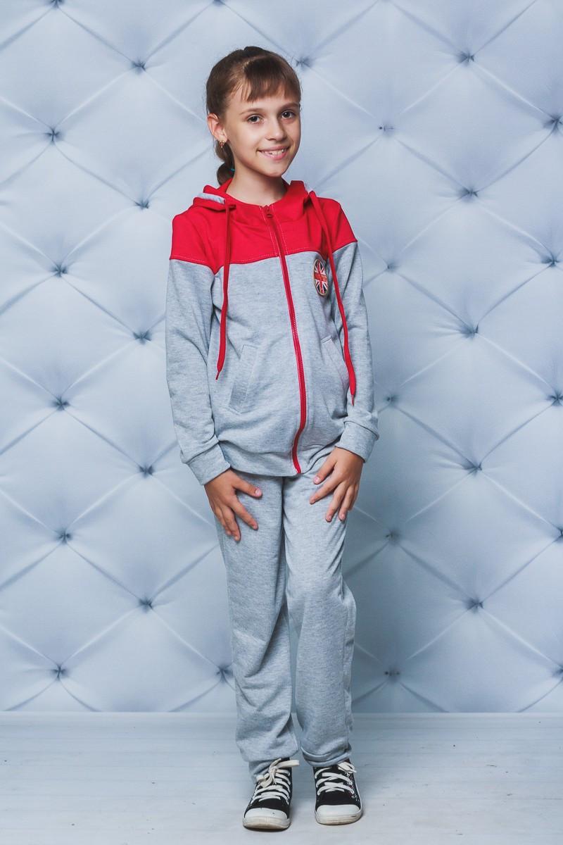 Спортивный костюм детский светло-серый красные плечи