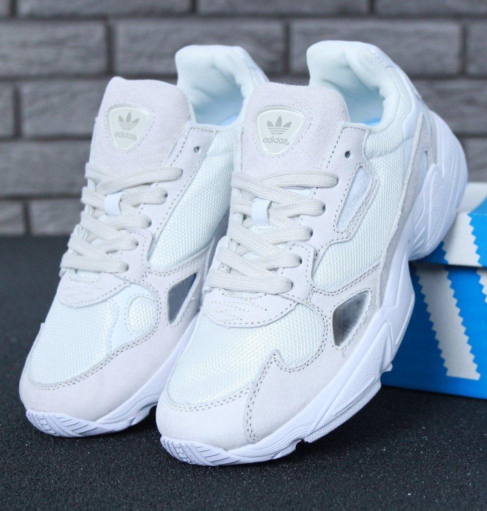 Женские кроссовки Adidas Falcon White/Light Grey (Адидас Фалкон)